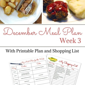 December weekly meal plan week 3 with free menu and shopping list printable