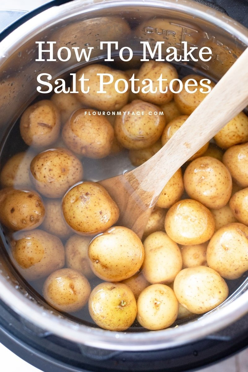 New Baby Potatoes in the Instant Pot with a salt brine ready to pressure cook.