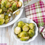 Individual servings of Instant Pot Brussels Sprouts for Thanksgiving dinner.
