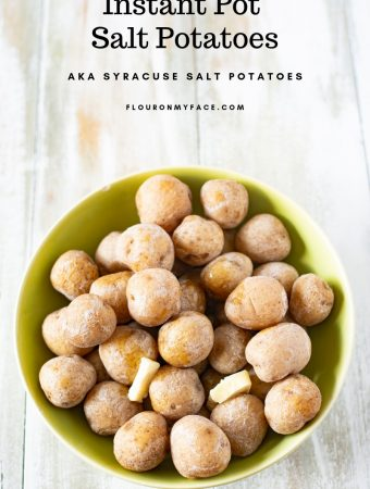 Green bowl filled with Instant Pot Salt Potatoes also known as Syracuse Salt Potatoes