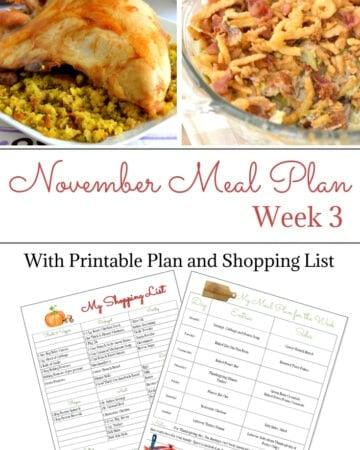 November Weekly Meal Plan Week 3 free menu planning printable and shopping list