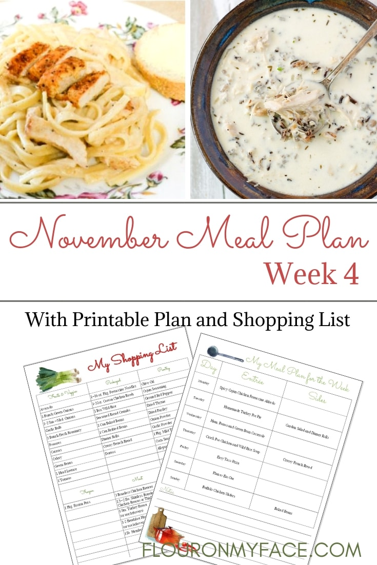November Weekly Meal Plan Week 4 with free meal planning menu and printable shopping list.