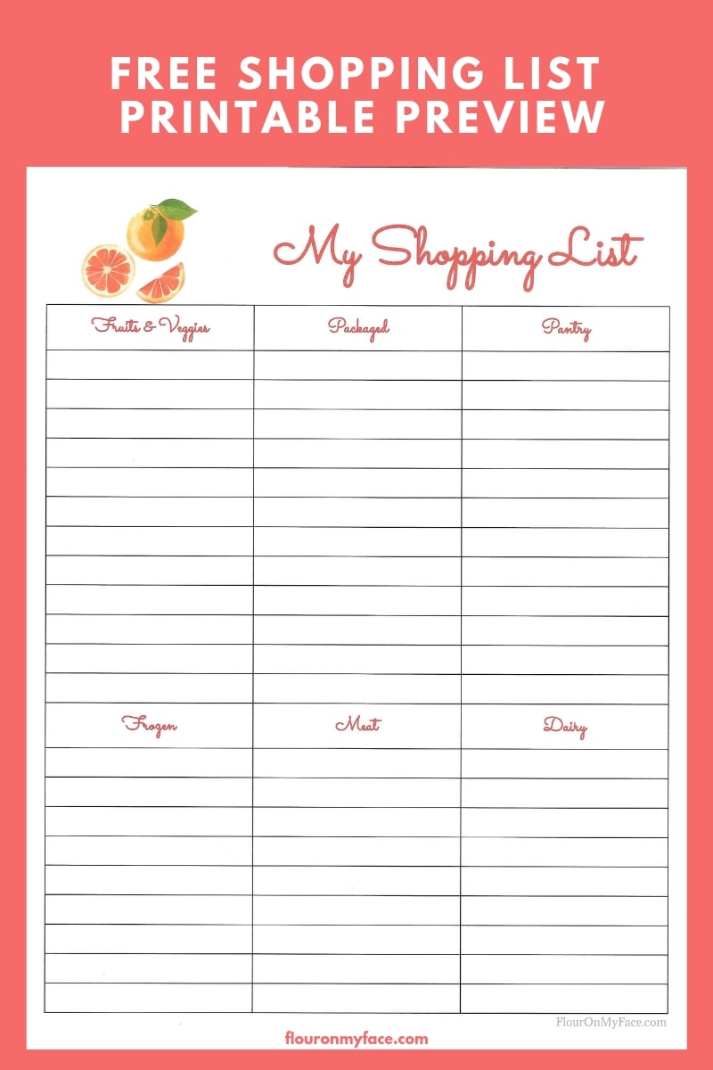 Free Meal Planning Printable Menu preview