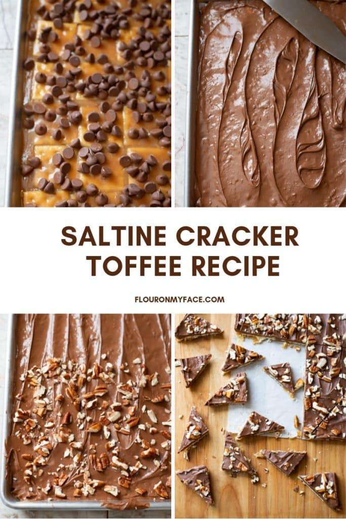 Four steps to make How to make Saltine Cracker Toffee recipe.