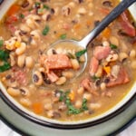 a bowl and spoon of Instant Pot Black-Eyed Peas recipe