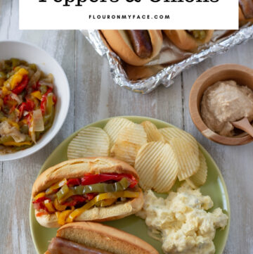 Instant Pot Brats with Peppers and onions recipe is an easy Game Day Instant Pot recipe that will feed a crown