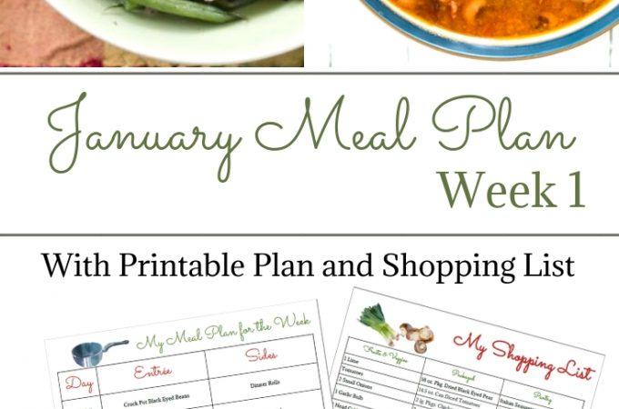 January Meal Plan Week 1 printable menu