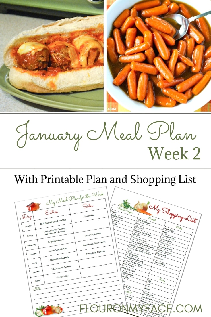 January Meal Plan Week 2 Meal Plan and shopping list printable