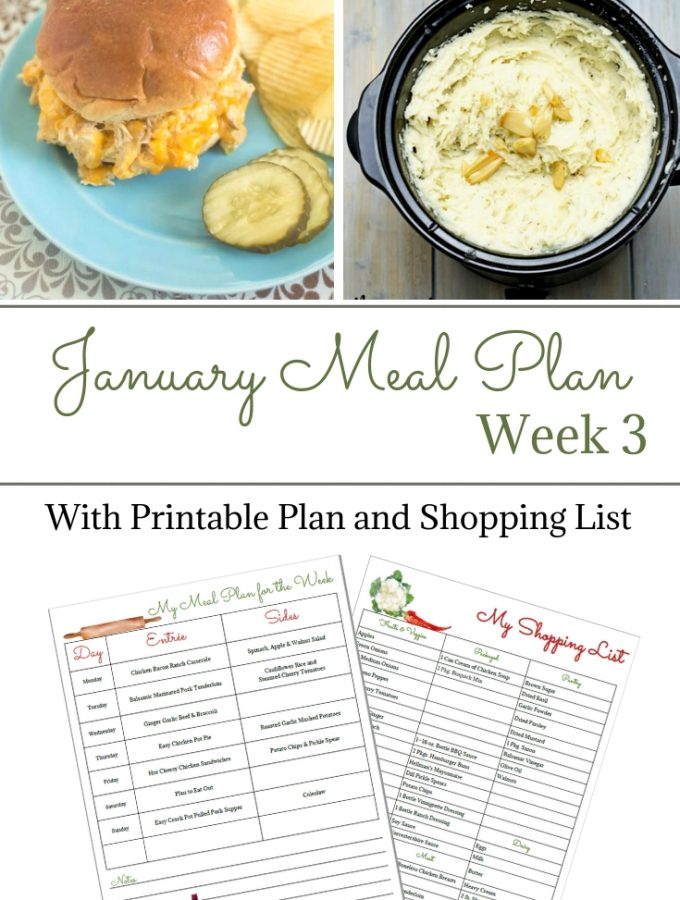 January Meal Plan Week 3 Meal Planning printable and shopping list