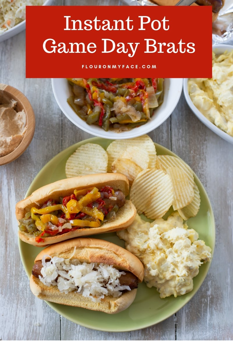 Game Day Brats served with potato salad and chips takes just 5 minutes to cook brats in the Instant Pot