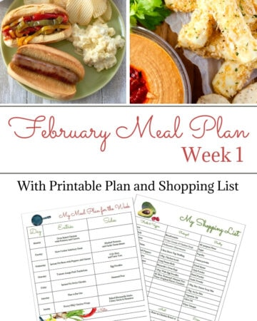 February Weekly Meal Plan Week 1 with printable meal plan and shopping list