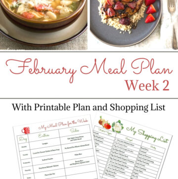 February Weekly Meal Plan Week 2 with printable meal plan and shopping list