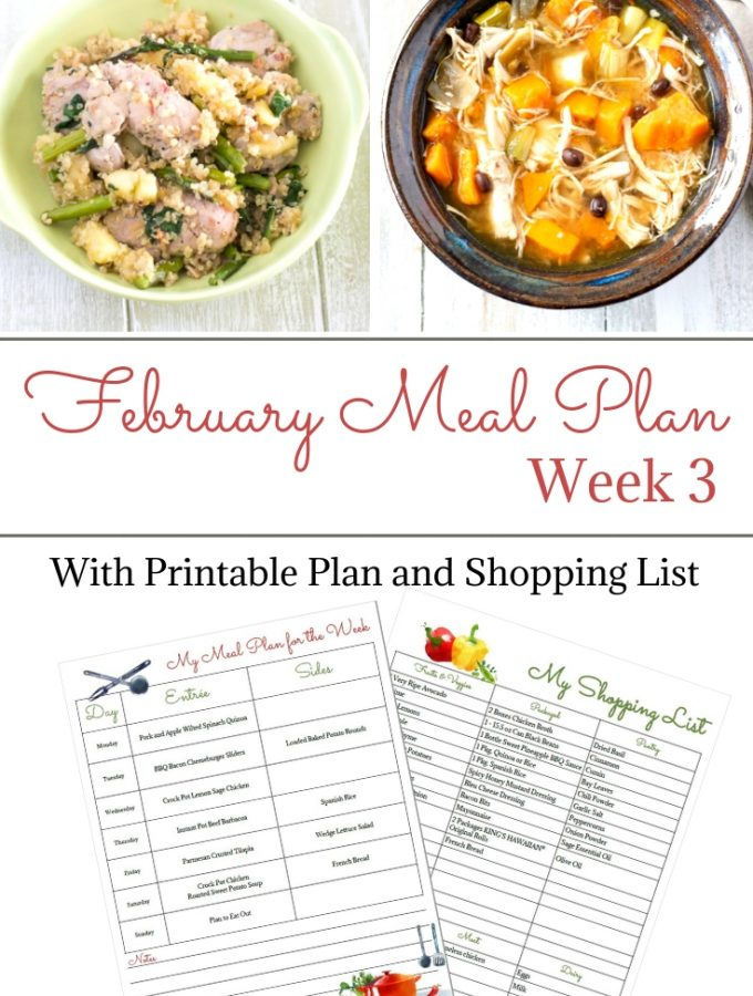 February Weekly Meal Plan Week 3 menu plan and shopping list printable