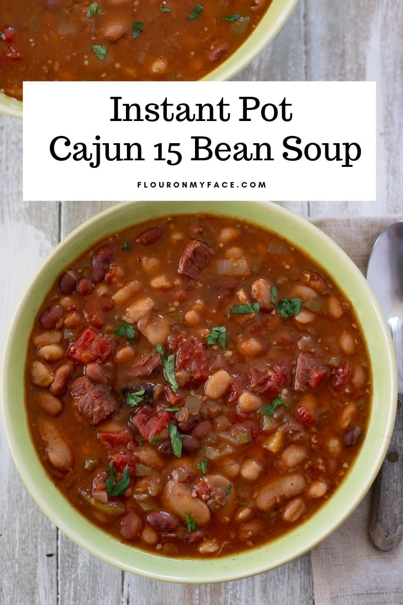 Instant Pot Cajun 15 Bean Soup recipe is an easy no soak bean soup recipe you don't want to miss.