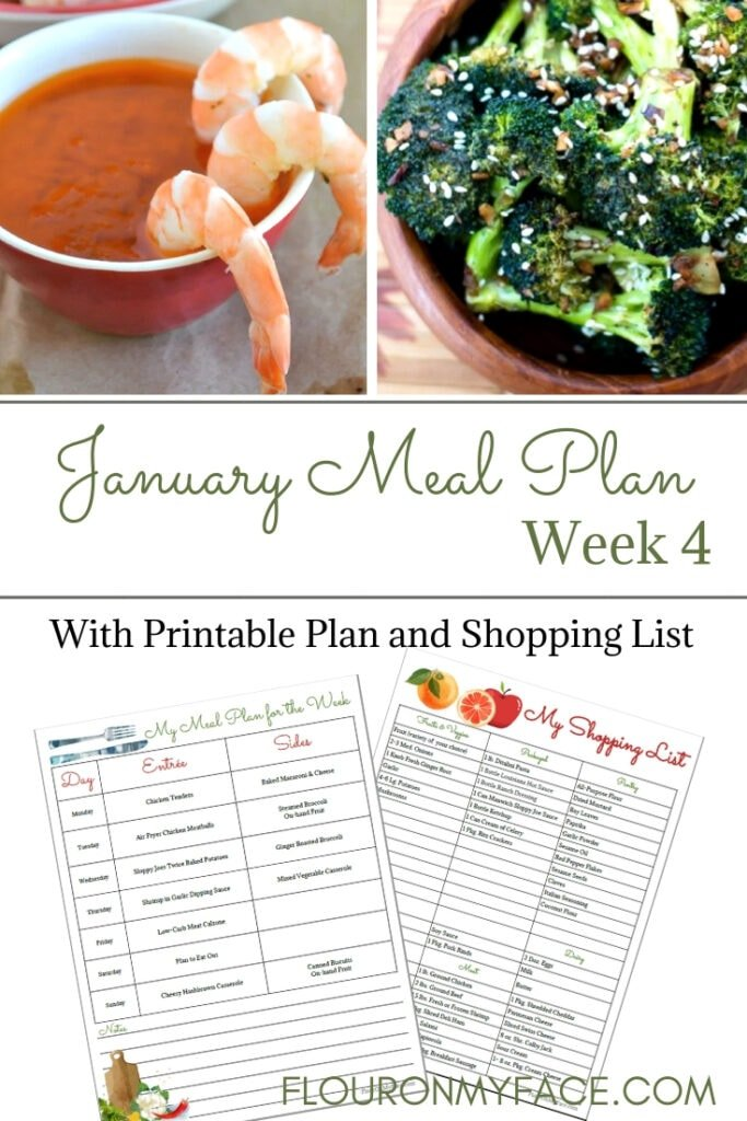 January Weekly Meal Plan Week 4 printable meal plan and shopping list