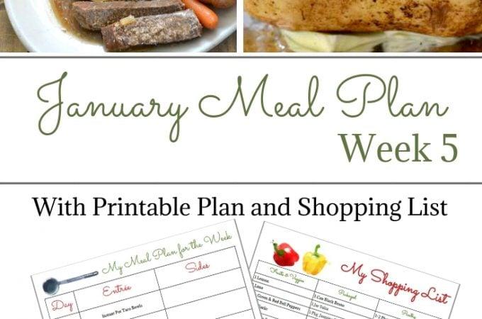 January Weekly Meal Plan Printables