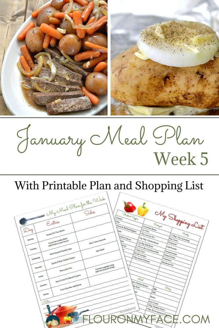 January Weekly Meal Plan Printables