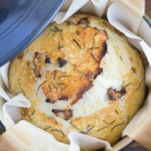 Uncut round loaf Dutch Oven Bread.