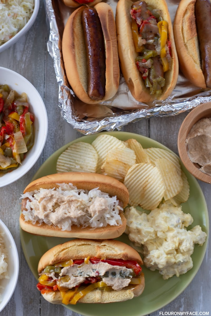 Game Day Brats with peppers and onions