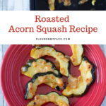 Roasted Acorn Squash slices on a red plate