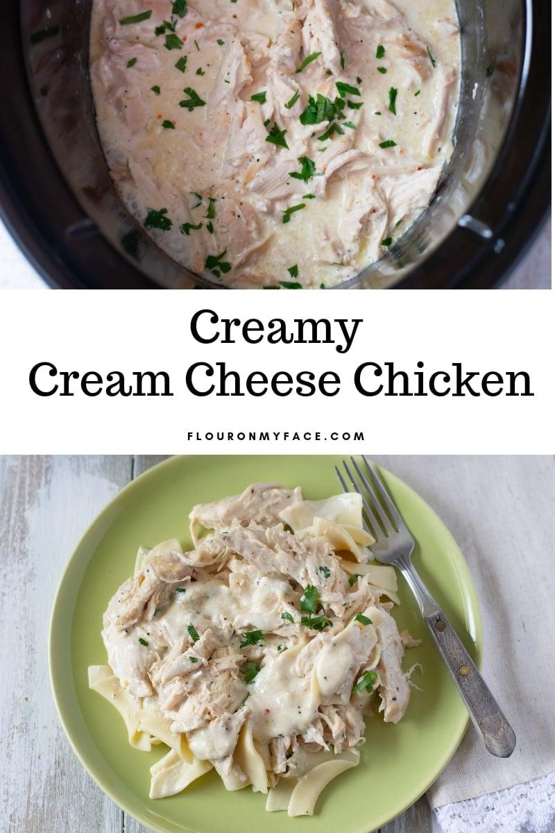 Crock Pot Cream Cheese Chicken recipe photo serving.