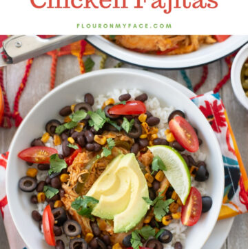 Crock Pot Chicken Fajita Bowl recipe made with easy crock pot chicken fajitas recipe