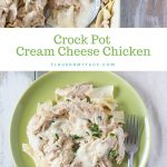 Image of Crock Pot Cream Cheese Chicken recipe served on a green plate