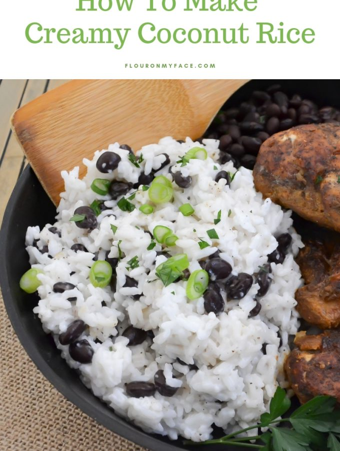 Creamy Coconut Rice recipe served with Jamaican Jerk Chicken