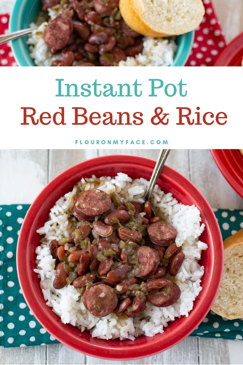 Instant Pot Red Beans and Rice served in a red Fiestaware bowl