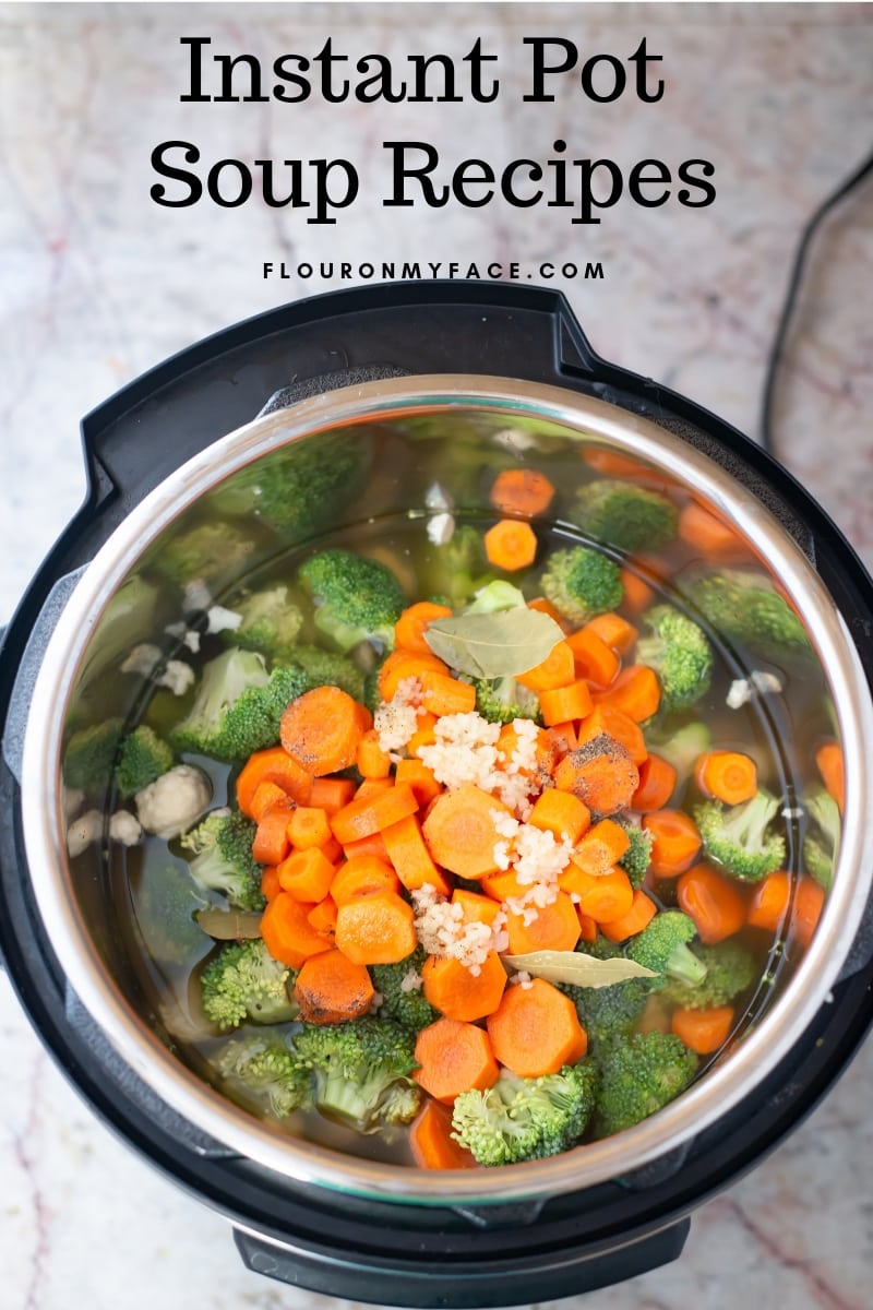 Instant Pot Cauliflower soup ingredients in the Instant Pot
