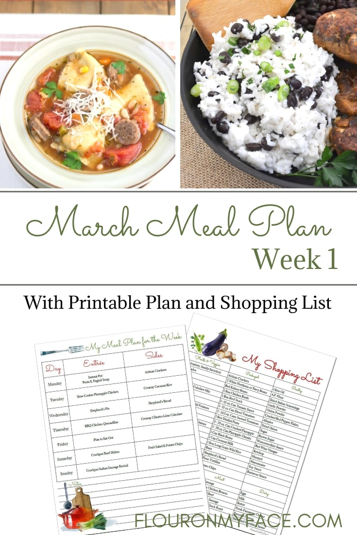March Weekly Meal Plan 1 image