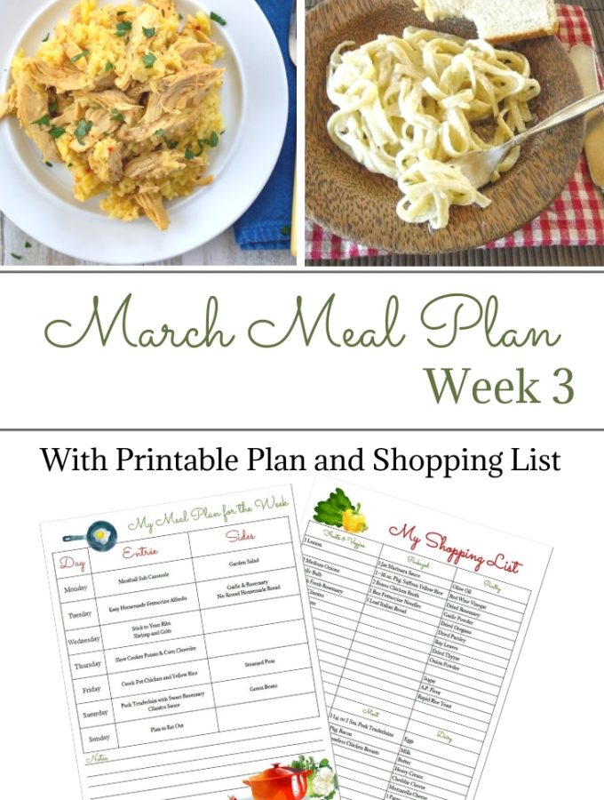 March Weekly Meal Plan 3 with free meal planner and grocery list printable