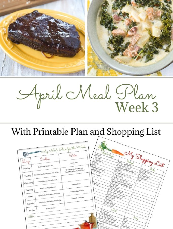April Weekly Meal Plan 3 preview