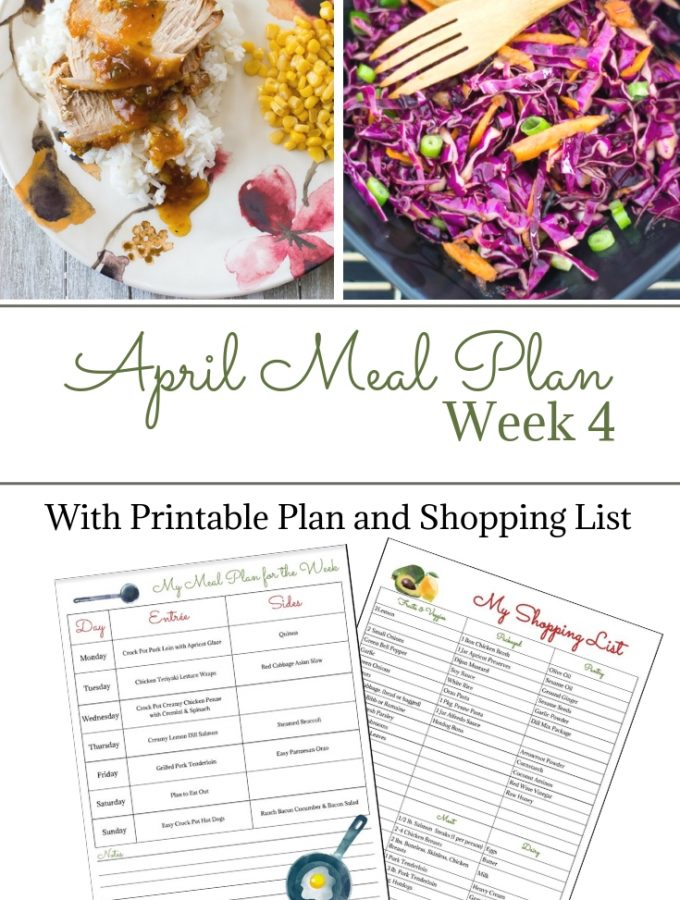 April Weekly Meal Plan 4 preview