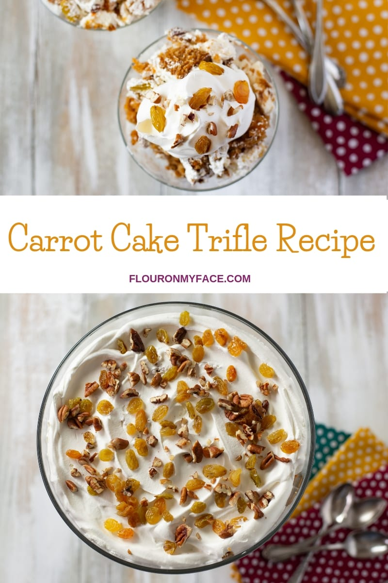 Carrot Cake Trifle in a glass trifle bowl with one serving in a glass dessert dish.