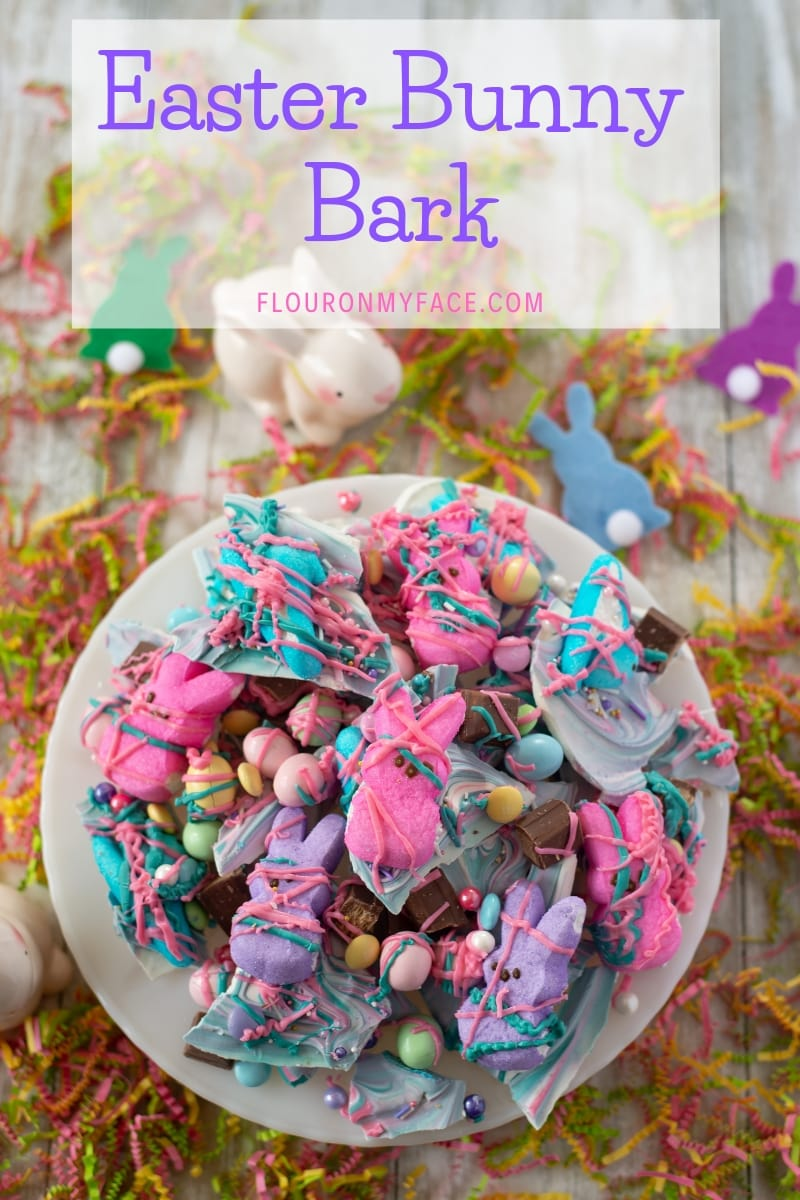 featured image for Easter Bunny Bark recipe using candy melts and Easter candy