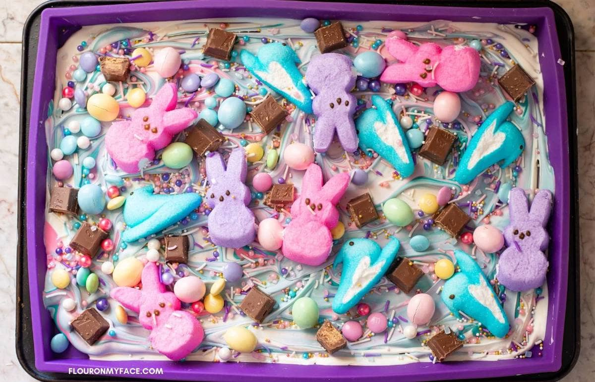 Easter bark toppings in the mold.