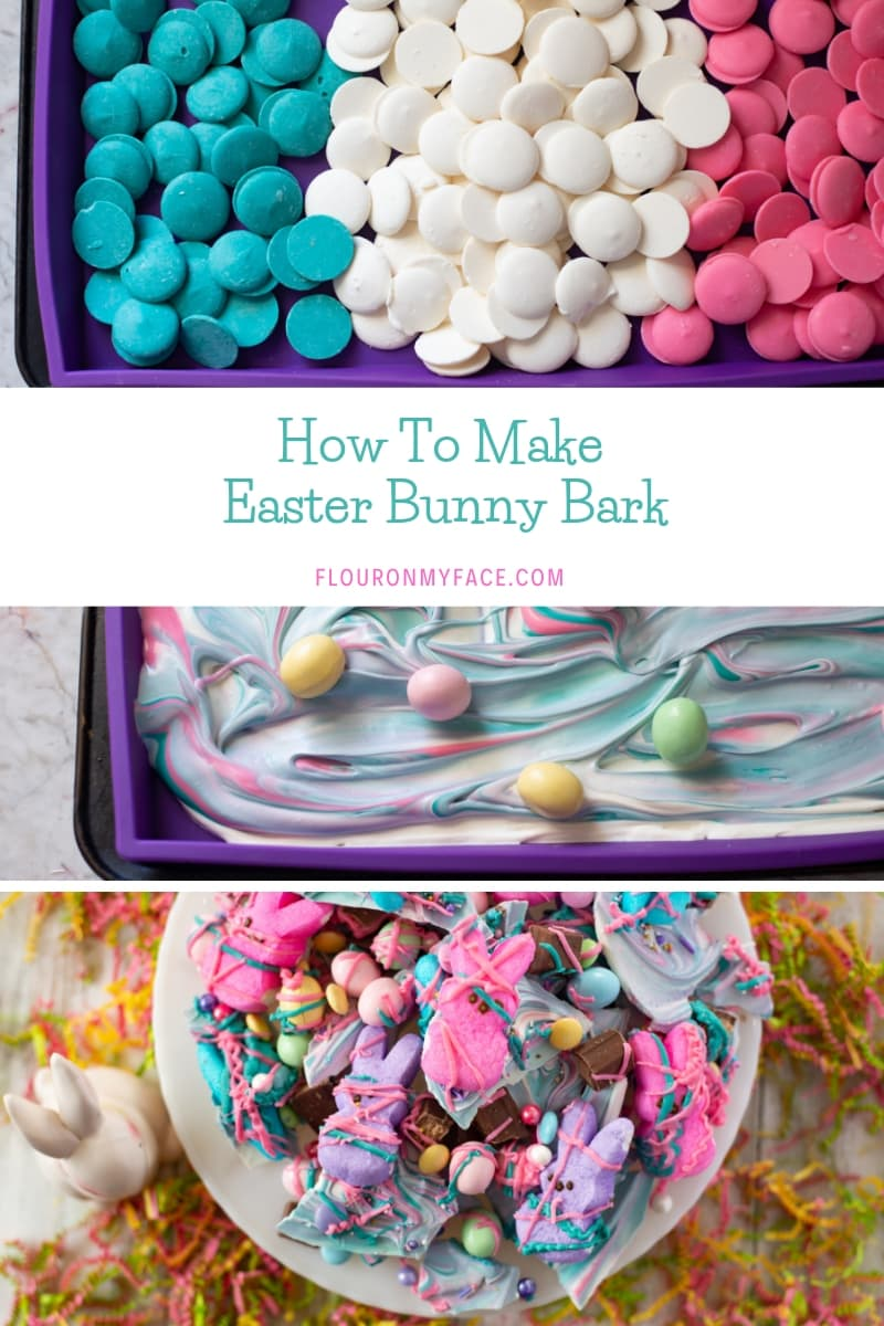 Collage image showing three steps to make Easter Bunny Bark, a fun Easter candy treat recipe.