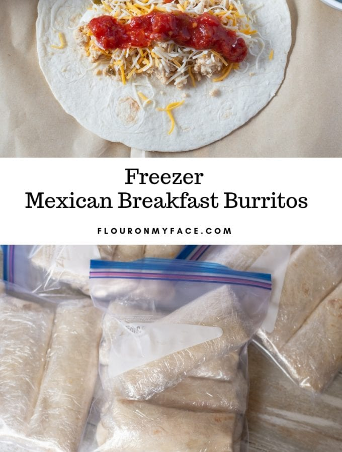 image of freezer Mexican Breakfast Burritos wrapped in plastic and put in Ziplock bags for the freezer.