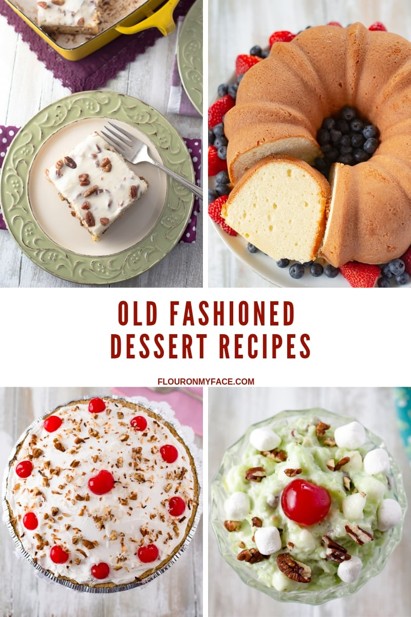 collage photo of 4 old fashioned vintage dessert recipes