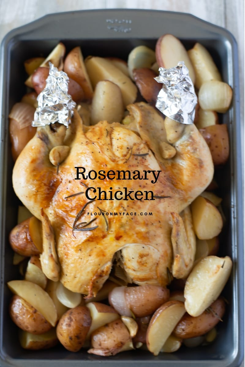 Whole Chicken cooked in the crock pot with fresh roasemary, potatoes, garlic and onion