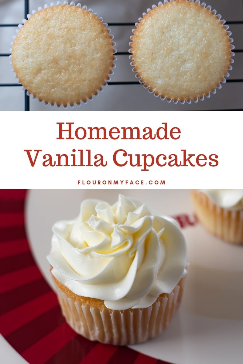 two unforsted homemade vanilla cupcakes with a closeup of a vanilla cupcake frosted