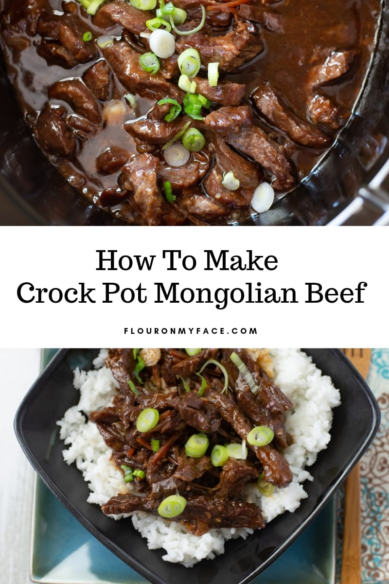 Collage photo of Crock Pot Mongolian Beef cooking in a crock pot with a serving bowl with cooked white rice and the tender Mongolian Beef piled high.
