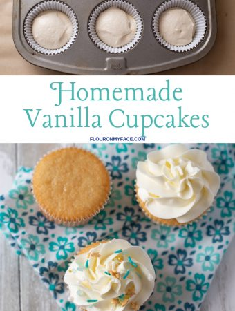 a trio of homemade vanilla cupcakes, one plain, one covered with frosting and one with frosting and colorful Sea Glass Sprinkles