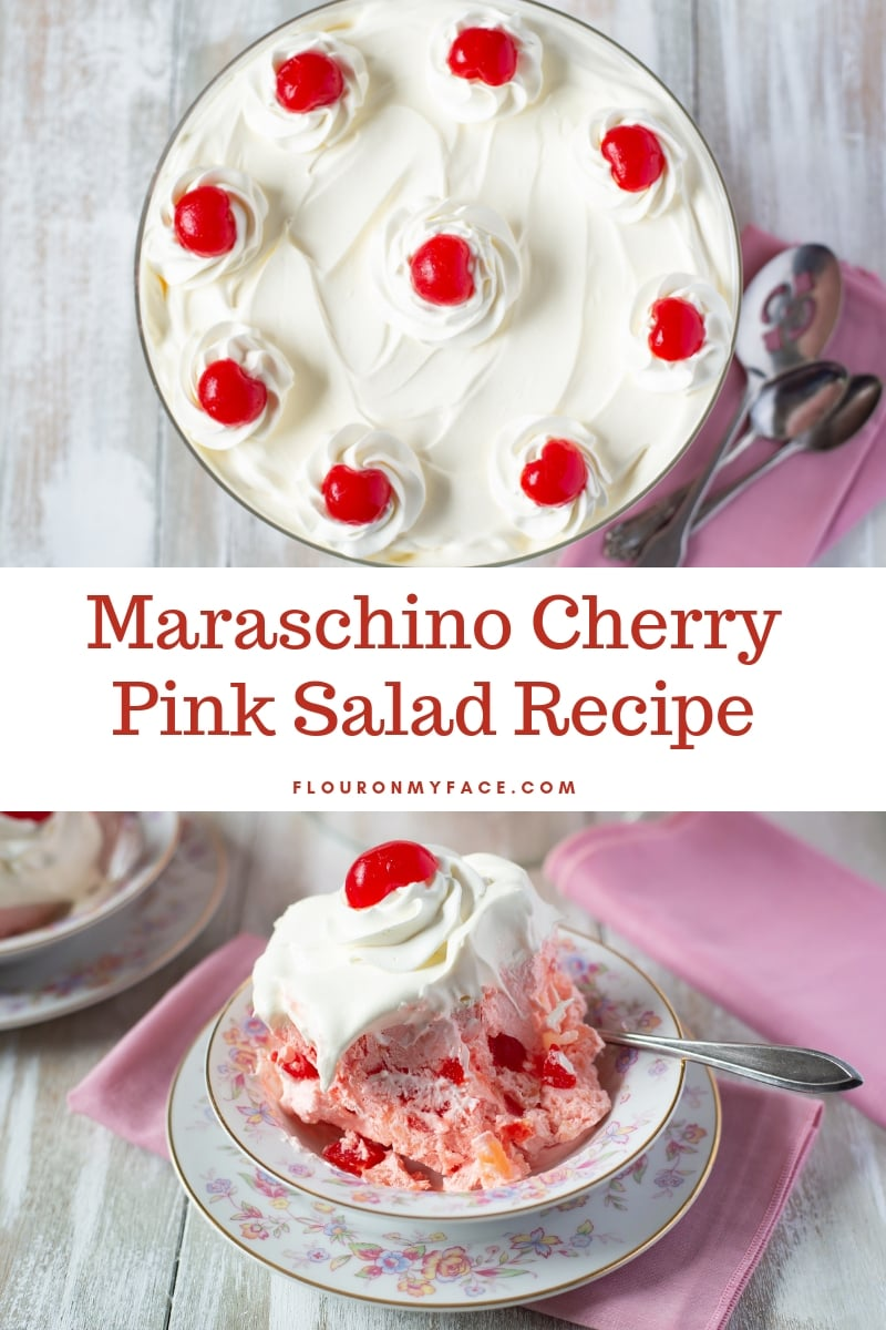 overhead and side view of old fashioned pink salad dessert recipe made with maraschino cherries and gelatin