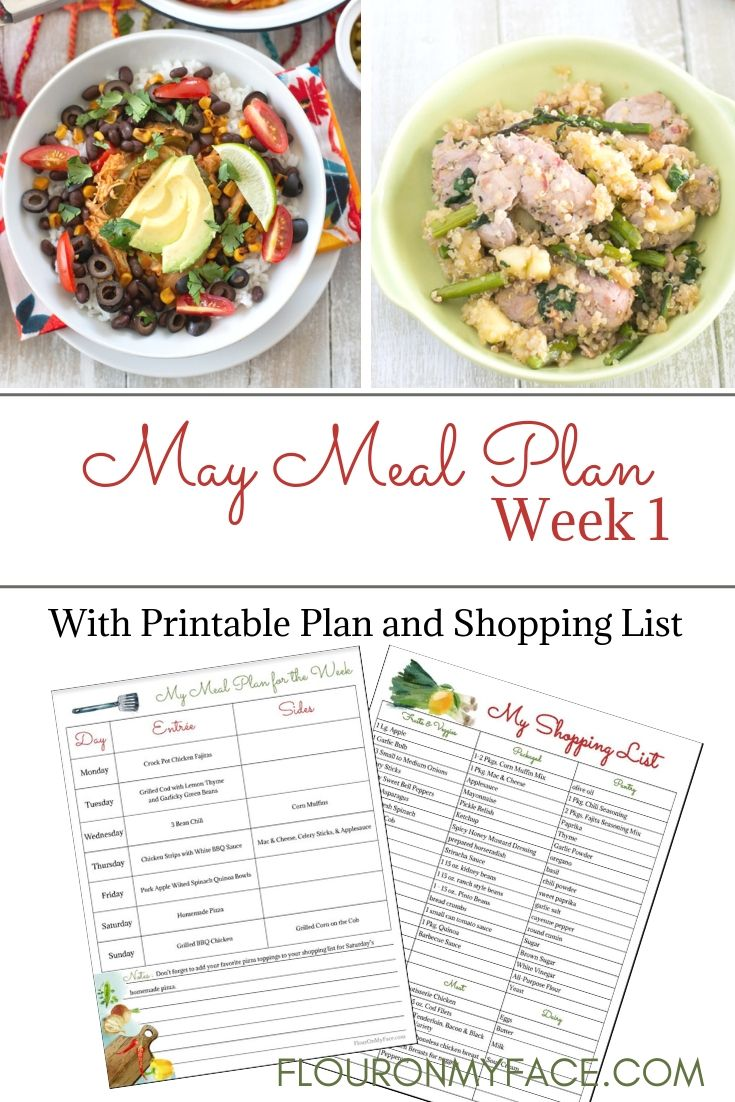 May Weekly Meal Plan 1 preview menu plan and shopping list