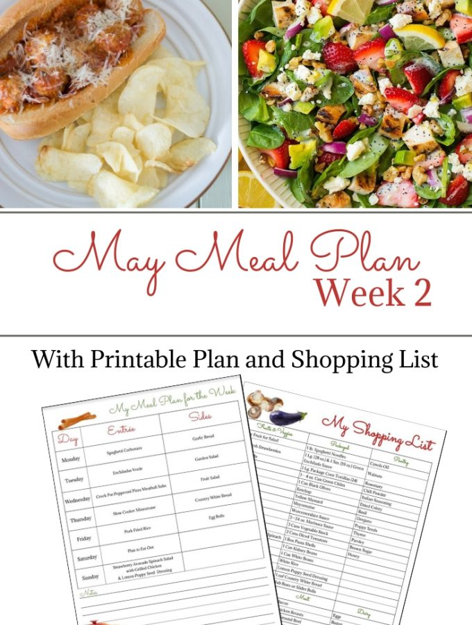 May Weekly Meal Plan 2 with printable menu and grocery shopping list