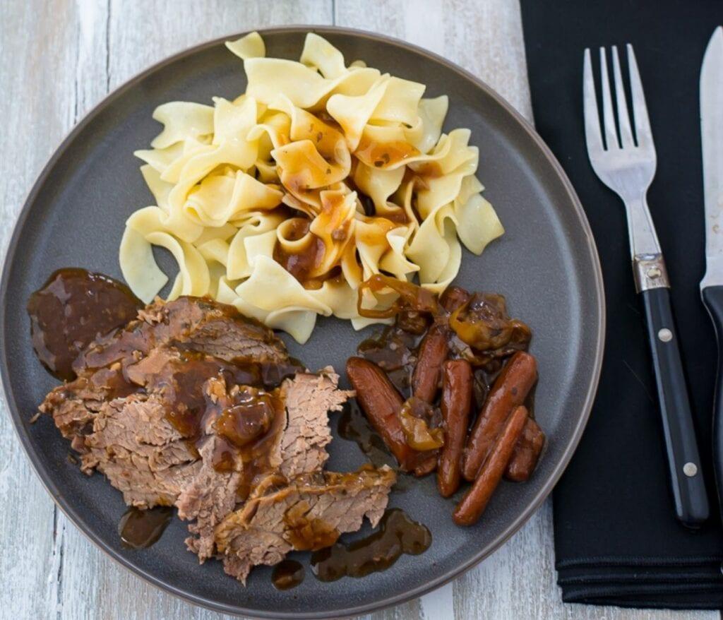 Pot Roast on a dinner plate.