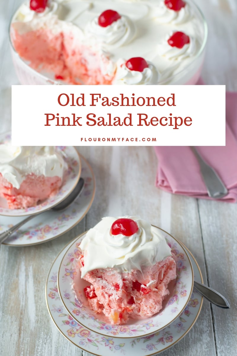 an above and side view of old fashioned pink salad dessert recipe made with maraschino cherries and gelatin