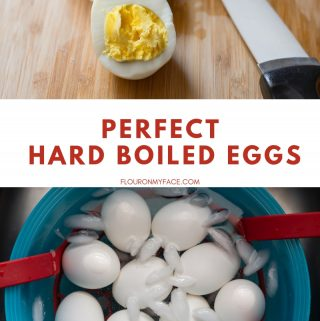 A Instant Pot hard boiled egg cut in half on a wooden cutting board with a bowl filled with ice water and the cooling hard boiled eggs.
